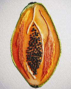 Proyecto papaya bordada en directo